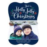 Holly Jolly Christmas | Navy Photo Card Greeting Invitation