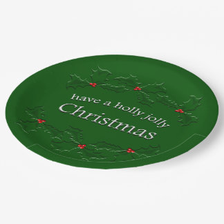 Holly Jolly Christmas Paper Plates 9 Inch Paper Plate