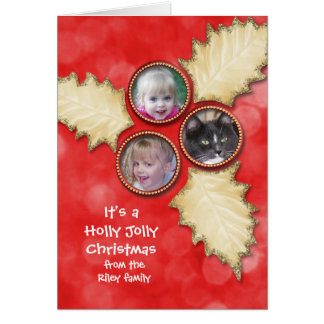 Holly Jolly Christmas photo frame Greeting Card