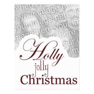 holly jolly christmas postcard