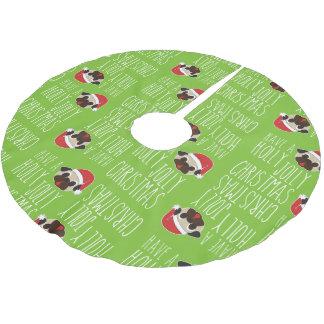Holly Jolly Christmas Pug Santa Tree Skirt