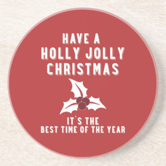 Holly Jolly Christmas   Red Beverage Coasters