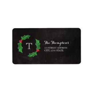 Holly Jolly Christmas Rustic Chalkboard Monogram Label