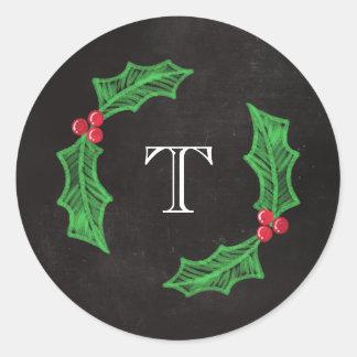 Holly Jolly Christmas Rustic Chalkboard Monogram Round Sticker