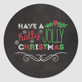 Holly Jolly Christmas Rustic Chalkboard Round Sticker