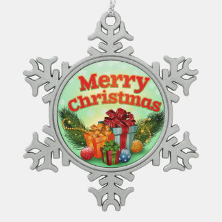 Holly Jolly Christmas Snowflake Pewter Christmas Ornament