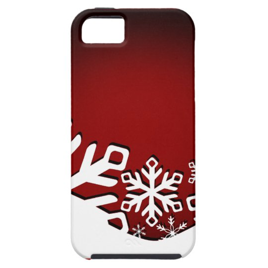Holly Jolly Christmas Snowflakes red iPhone 5 Cover