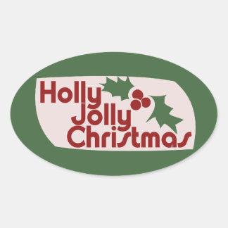 Holly Jolly Christmas Oval Sticker