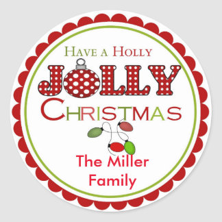 Holly Jolly Christmas Stickers Labels