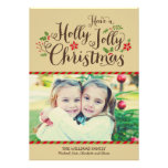 Holly Jolly Christmas | Tan Photo Card Greeting Custom Announcement