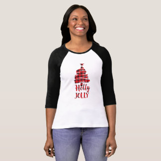 Holly Jolly Christmas Tree Shirt, Buffalo Plaid T-Shirt