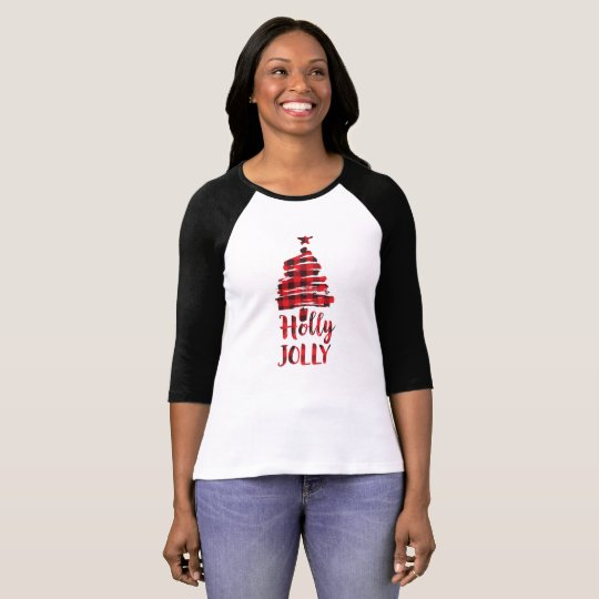 Holly Jolly Christmas Tree Shirt, Buffalo Plaid T-Shirt