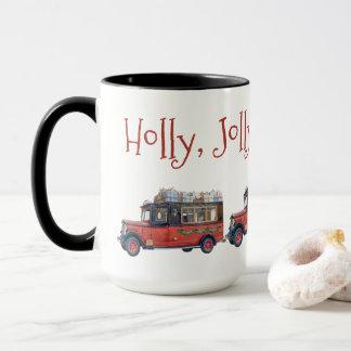Holly Jolly Christmas Vintage Bus Christmas Mug