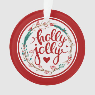 Holly Jolly Christmas Watercolor Wreath Ornament