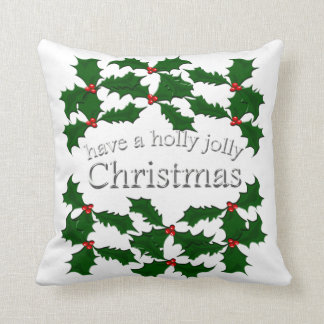 Holly Jolly Christmas White Pillow