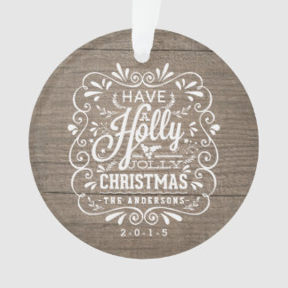 Holly Jolly Christmas Wooden Chalkboard Photo