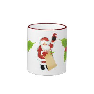 Holly Jolly Coal Christmas Ringer Mug