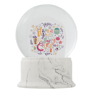 Holly Jolly Colorful Christmas Text design Snow Globes
