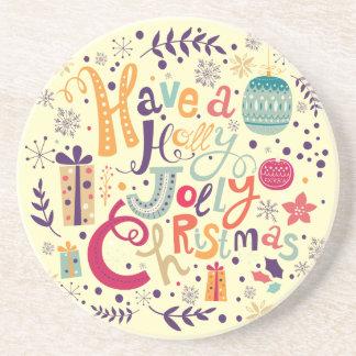 Holly Jolly Colorful Retro Christmas Design Drink Coaster