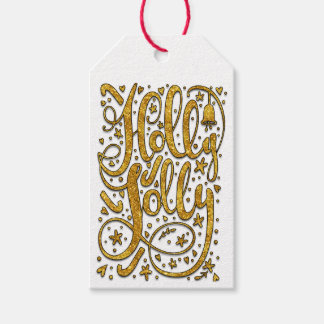 Holly Jolly Gold Sparkle Gift Tags