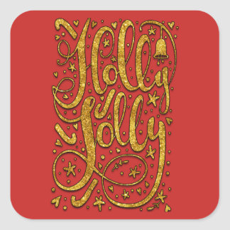 Holly Jolly Gold Sparkle Square Sticker