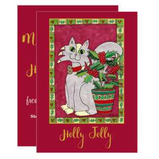Holly Jolly Gray & White Cat Personalized Holiday Card