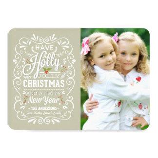 Holly Jolly Greige & White Christmas Photo Card 11 Cm X 16 Cm Invitation Card