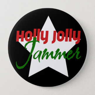 Holly Jolly Jammer, Roller Derby Skating Christmas 10 Cm Round Badge