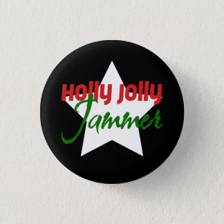 Holly Jolly Jammer, Roller Derby Skating Christmas 3 Cm Round Badge
