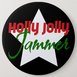 Holly Jolly Jammer, Roller Derby Skating Christmas 6 Cm Round Badge