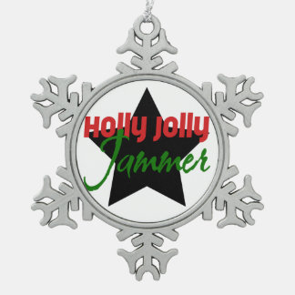 Holly Jolly Jammer, Roller Derby Skating Christmas Snowflake Pewter Christmas Ornament