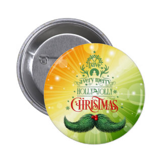 Holly Jolly Mustache Christmas 6 Cm Round Badge