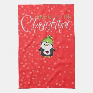 Holly Jolly Penguin Christmas Kitchen Towel