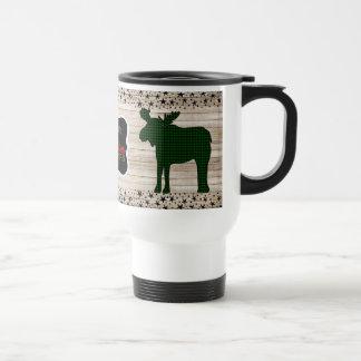 Holly Jolly Plaid Moose Christmas Travel Mug