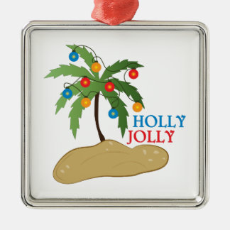 Holly Jolly Silver-Colored Square Decoration