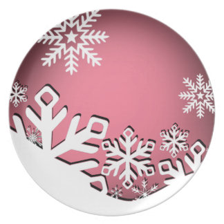 Holly Jolly Snowflakes Christmas Party   baby pink Party Plate