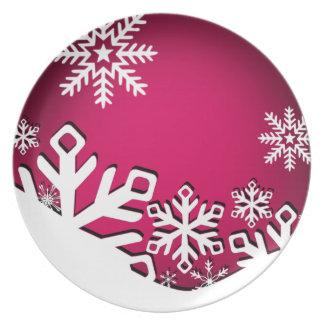 Holly Jolly Snowflakes Christmas Party | fuschia Dinner Plate
