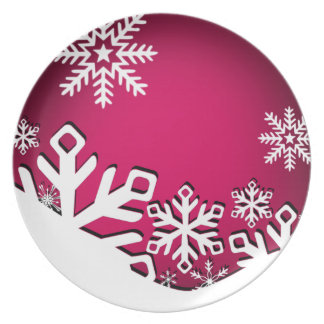 Holly Jolly Snowflakes Christmas Party   fuschia Dinner Plate