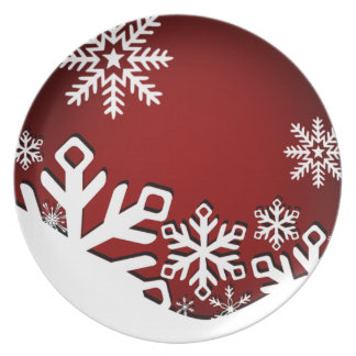 Holly Jolly Snowflakes Christmas Party   red Plate