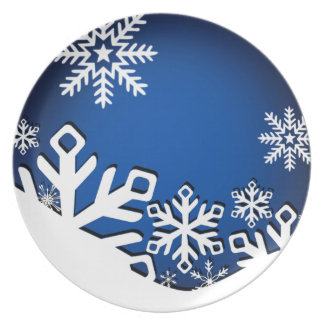 Holly Jolly Snowflakes Christmas Party sapphire Dinner Plate