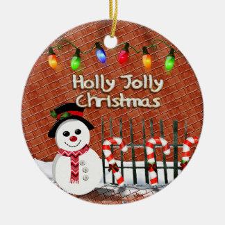Holly Jolly Snowman CUSTOM Round Ceramic Decoration