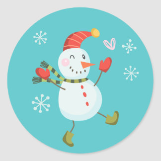 Holly Jolly Snowman Holiday Stickers | Blue