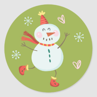 Holly Jolly Snowman Holiday Stickers | Lime Green