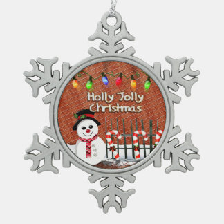 Holly Jolly Snowman Pewter Snowflake Decoration