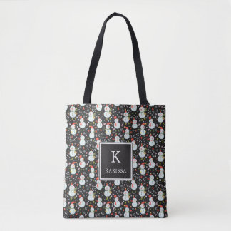 Holly Jolly Snowmen Monogram Tote Bag