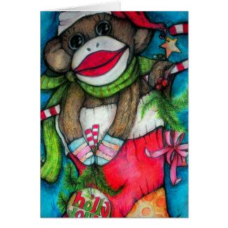 Holly Jolly Sock Monkey Greeting Card