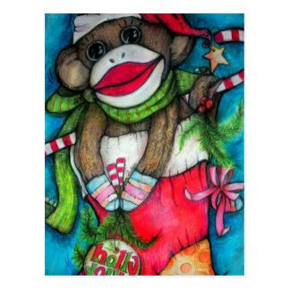 Holly Jolly Sock Monkey Postcard