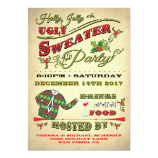 Holly Jolly Ugly Sweater Holiday Party Invitation