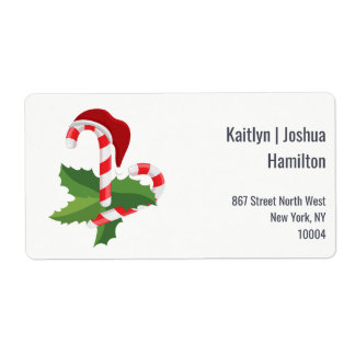 Holly Jolly Wonderful Christmas Candy Cane Shipping Label