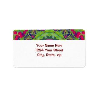 Holly Kaleidoscope Address Label